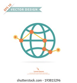 Wire frame global with point and route path, abstract design