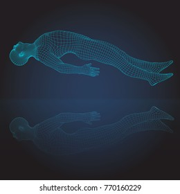 Wire frame human full body in virtual reality. Medical blue print scanned 3D model. Polygonal technology design