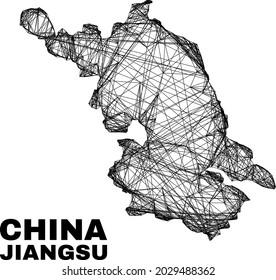 Wire frame irregular mesh Jiangsu Province map. Abstract lines form Jiangsu Province map. Wire frame 2D network in vector format.