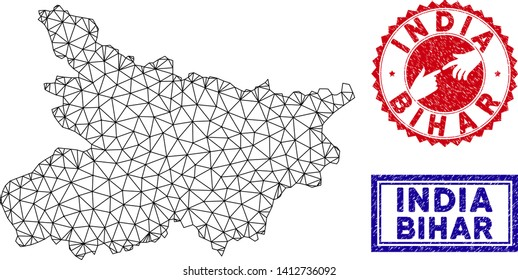 Wire frame polygonal Bihar State map and grunge seal stamps. Abstract lines and spheric points form Bihar State map vector model. Round red stamp with connecting hands.
