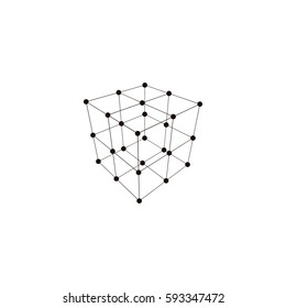 Wire frame Polygonal Element. Cube with Lines and Dots. Vector illustration