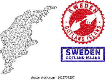 Wire frame polygonal Gotland Island map and grunge seal stamps. Abstract lines and circle dots form Gotland Island map vector model. Round red stamp with connecting hands.