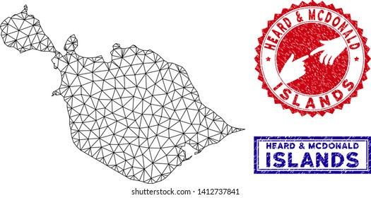 Wire frame polygonal Heard and McDonald Islands map and grunge seal stamps. Abstract lines and points form Heard and McDonald Islands map vector model. Round red stamp with connecting hands.