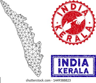 Wire frame polygonal Kerala State map and grunge seal stamps. Abstract lines and dots form Kerala State map vector model. Round red stamp with connecting hands.