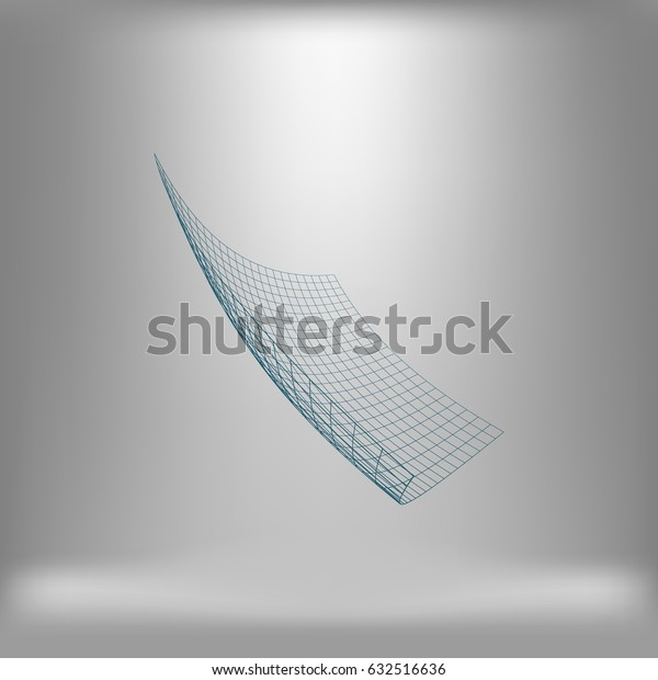 Wire frame polygonal landscape. Bent wire frame polygon. Vector illustration.