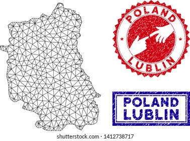 Wire frame polygonal Lublin Voivodeship map and grunge seal stamps. Abstract lines and points form Lublin Voivodeship map vector model. Round red stamp with connecting hands.