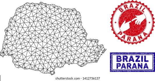 Wire frame polygonal Parana State map and grunge seal stamps. Abstract lines and spheric points form Parana State map vector model. Round red stamp with connecting hands.