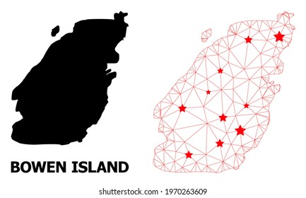 Wire frame polygonal and solid map of Bowen Island. Vector model is created from map of Bowen Island with red stars. Abstract lines and stars are combined into map of Bowen Island.