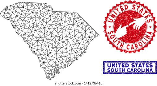 Wire frame polygonal South Carolina State map and grunge seal stamps. Abstract lines and dots form South Carolina State map vector model. Round red stamp with connecting hands.