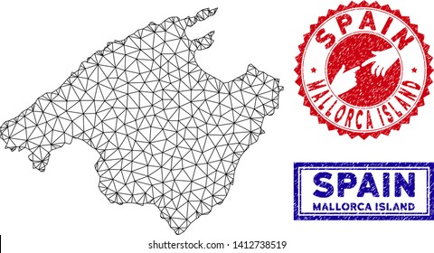 Wire frame polygonal Spain Mallorca Island map and grunge seal stamps. Abstract lines and circle dots form Spain Mallorca Island map vector model. Round red stamp with connecting hands.