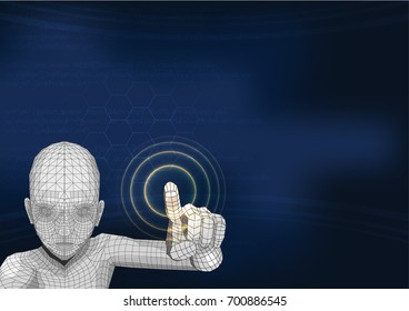 wire frame robot AI touch button on the screen hi technology interface