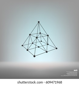 Wire frame shape. Pyramid with connected lines and dots. Vector Illustration