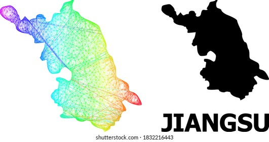 Wire frame and solid Map of Jiangsu Province. Vector model is created from Map of Jiangsu Province with intersected random lines, and has spectral gradient.