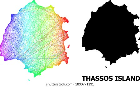 Wire frame and solid map of Thassos Island. Vector structure is created from map of Thassos Island with intersected random lines, and has spectral gradient. Abstract lines form map of Thassos Island.