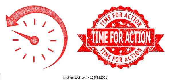Wire frame time backward icon, and Time for Action textured ribbon seal. Red seal includes Time for Action title inside ribbon.Geometric wire carcass 2D network based on time backward icon,