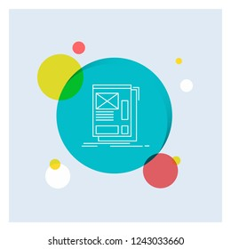 wire, framing, Web, Layout, Development White Line Icon colorful Circle Background