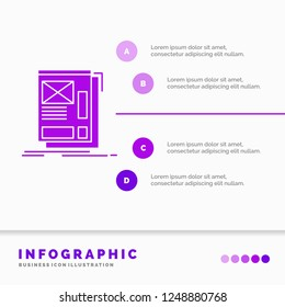 wire, framing, Web, Layout, Development Infographics Template for Website and Presentation. GLyph Purple icon infographic style vector illustration.