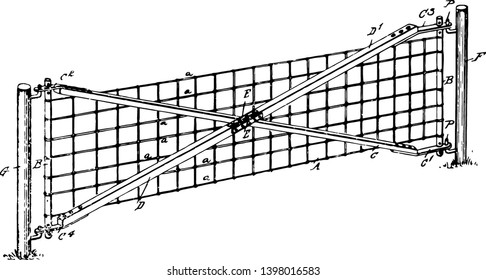 Wire Gate piece land versatile sturdy and secure gate vintage line drawing or engraving illustration