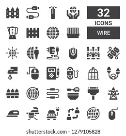 wire icon set. Collection of 32 filled wire icons included Computer mouse, Earth grid, Alternate, Electric, Iron, Ironing, Electric tower, Cable, Whisk, Connector, Fence, Bird cage
