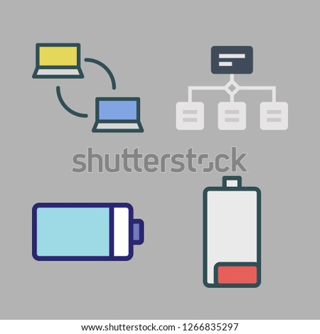 wire icon set  vector set about battery, networking and hierarchical  structure icons set