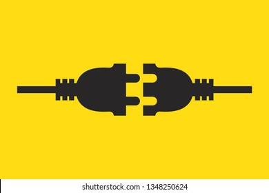 Wire plug icon. Vector illustration. Wire plug in flat design. Concept of connection and disconnection of the electricity.
