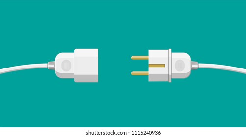 Wire plug and socket. Concept of connection, disconnection, electricity. Vector illustration in flat style