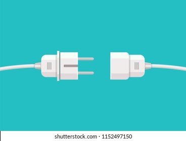 Wire plug and socket. Vector illustration