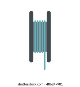 Wire spool icon in flat style on a white background vector illustration