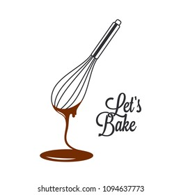 wire whisk and chocolate for bakery cooking or cake on white background