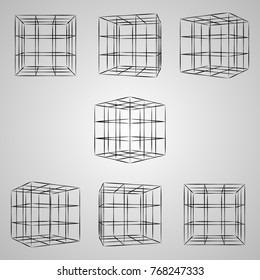 Wireframe 3D cube at different angles. Vector cube sketch on gray background
