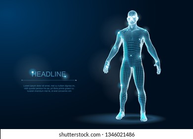 Wireframe 3D Man Body Geometry with dots and stars