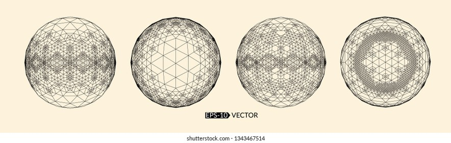 Wireframe 3D surface sphere. Abstract 3d grid design. Futuristic structure for chemistry and science. Network cyber technology