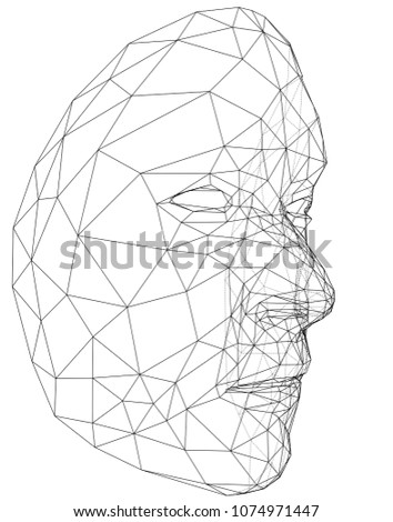 Wireframe Abstract Human Face Concept 3 D Stock Vector Royalty Free