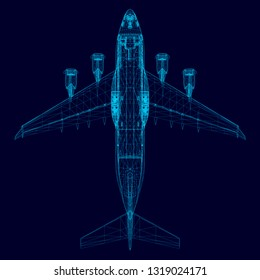 Wireframe of the aircraft from the blue lines. Polygonal plane. View from above. 3D. Vector illustration.