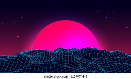 Wireframe background landscape. 1980s retro wave style. Sci-Fi futuristic vector illustration of sunrise or sunset.