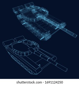 Wireframe of a battle tank of blue lines on a dark background. View isometric. Vector illustration