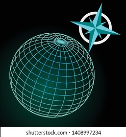Wireframe blue and green globe on dark sky with stars, cardinal directions symbole