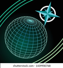 Wireframe blue and green globe on dark background, cardinal directions symbole