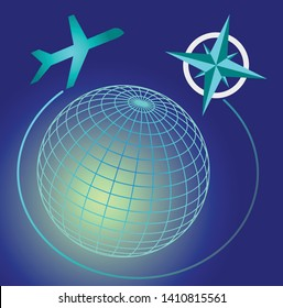 Wireframe blue and green glowing globe on dark blue sky, cardinal directions symbole, transport airplane on airline, travel advertising