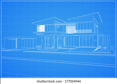 Wireframe Blueprint Drawing Of 3D House   Vector Illustration