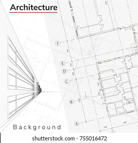 Wireframe of building, Architecture Background 3d illustration. Vector construction graphic idea.