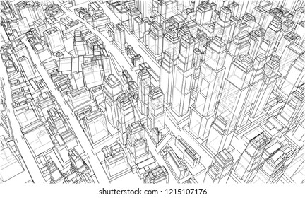 Wireframe City Blueprint Style 3 D Rendering Stock Vector
