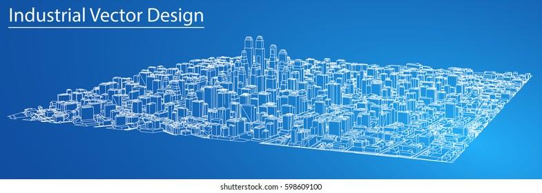 3d blueprint stock vectors images vector art shutterstock wire frame city blueprint style 3d rendering vector illustration architecture design background malvernweather Choice Image