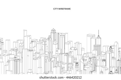 Wireframe of Cityscape Vector Sketch. Architecture - Illustration