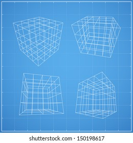 Wireframe of cubic box space ( 4X4 unit ) on blueprint background - Vector illustration