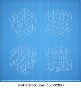 Wireframe of cubic box space on blueprint background - Vector illustration
