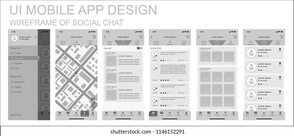 Wireframe design of mobile app UI, UX materials of Social Chat user interface with menu, map, notification, home screen, favorite, profile. Vector EPS10 template.