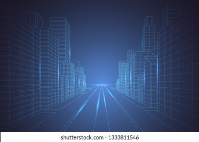 Wireframe digital city