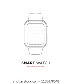 Wireframe Display Template Vector Dotted Paper App Mock Up Smartphone similar to apple watch 4 (40 mm)