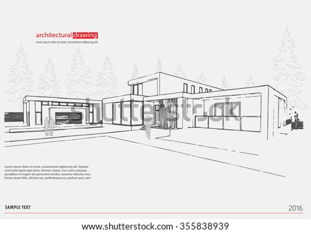 Wireframe Drawing Of 3D Building Vector Architectural Template Background Theme